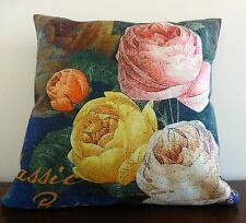 Cabbage Roses Linen look cushion cover 45 x 45