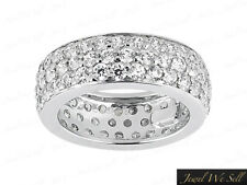 Wedding Band Ring 950 Platinum G Si1 1.60Ct Round Cut Diamond 3Row Pave Eternity