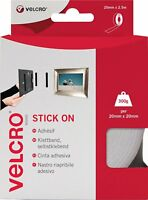 White VELCRO Self Adhesive Tape Stick On Super Strong Hook & Loop - 20mm x 2.5m