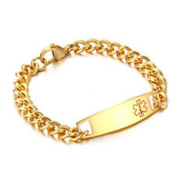 Free Engraving Men Medical Alert ID ICE Tag Gold Link Chain Bracelet Wristband