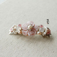 Chinese Classical Ladies Hair Clip Hair Accessories Pink Shell Carving Flower