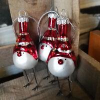 3 x Glas Vögel Metallbeine Vogel Weiß Baumschmuck Christbaumkugeln Rot Weiß