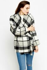 Womens wrap check white grey coat size 10/12/14 new