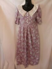 "Laura Ashley 80's Vintage Day Dress Blue Floral Midi 32"" Bust XS Size O Lace"