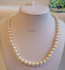 Silver Genuine 7-8mm circle reshwater pearl necklace+earring white