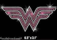 "6.5"" PINK Wonder Woman iron on rhinestone transfer superhero applique DIY decal"