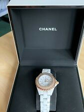 CHANEL WATCH ROSE GOLD WHITE CERAMIC CRYSTALS EXCELLENT CONDITION