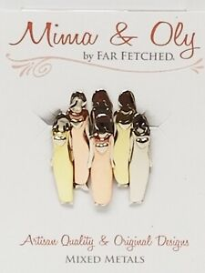 New Mima & Oly by Far Fetched 6 Sisters Mixed Metals Figural Female Pin Brooch