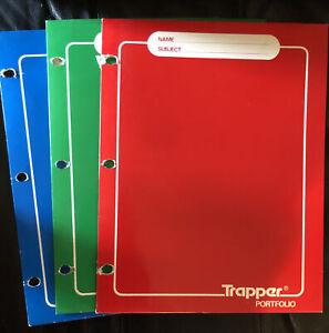 3 Vintage Trapper Keeper Portfolio Folders Red Blue Green See Pics
