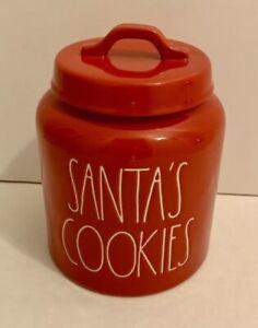 "Rae Dunn Red! ""SANTA'S COOKIES"" Canister Cookie Jar"