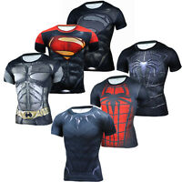 Compression T-shirt Superman 3D Men Gym Fitness Cycling Tops Tee Running Sports