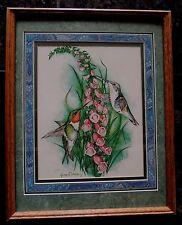 "Lynn Bean Hummingbird Foxglove Watercolor Print Custom Framed Signed 12"" x 15"""