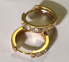 L12 GOLD GF horseshoe 18mm hoop earrings with white sapphires Plum UK BOXED