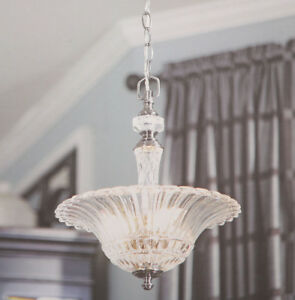 Allen Roth COLFAX 3-Light Pendant Polished Pewter Crytal Glass Shade Lighting