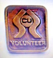 "Vintage Collectible Pin: "" CU VOLUNTEER "" 9/16"" square"