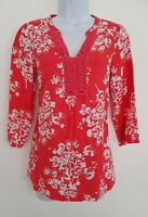 Womens Boden Red White Floral Pure Linen Braided Kaftan Tunic Blouse Top 8 Vgc.