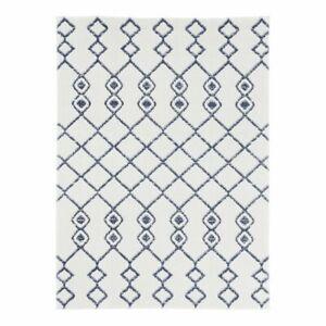 Cedar Tiller Moroccan Area Rug Blue Ivory White Jute Geometric 160 x 220cm