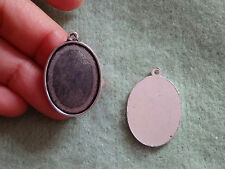 10 small oval setting blanks picture photo frame pendant tibetan silver SF20
