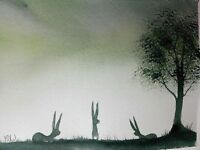 Original watercolour painting.   Hare family on the green.