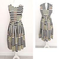 Dorothy Perkins Dress 12 Midi Tie Back Cotton Art Deco Holiday Stripe Summer