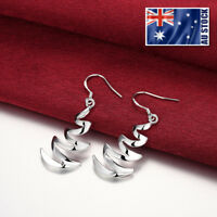 Women Girls 925 Sterling Silver Filled Solid Fashion Lightning Dangle Earrings