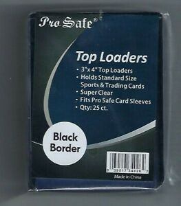 (100) Pro Safe Black Border Card Topload Card Holder  & 100 Sleeves