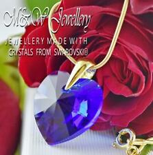 925 Silver Gold Plated Necklace Crystals from Swarovski® HEART - MAJESTIC BLUE