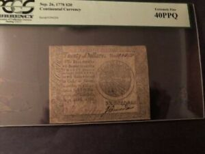Continental Currency Sep. 26, 1778 $20 Extremely 40PPQ
