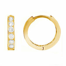 10K Solid Yellow Gold CZ Huggie Hoop Earrings 12mm Small Hoops