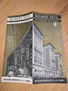 Vintage BILTMORE HOTEL, LOS ANGELES Brochure 1930's or early 1940's