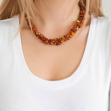 Genuine Natural Baltic Amber Necklace Raw Unpolished Cognac Beads Silver Clasp
