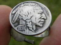 Ring Buffalo Indian Nickel coin sterling silver nice gift motorcycle biker rider