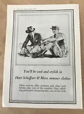 Hart Schaffner & Marx print ad 1922 vintage illus retro art summer clothes men's