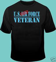 U.S. Air Force, Veteran, PROUD, Gildan 100% Cotton Black T-Shirt, Military