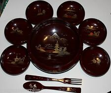 Vintage AIZU Lacquerware Salad Bowl and Serving Bowls Set with Spoon and Fork