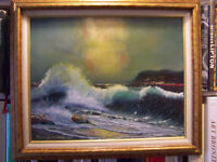 CLASSIC SEASCAPE VIBRANT IMAGE FRAMED OIL ON BOARD PAINTING OCEAN COASTAL SCENE