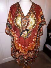 Gamla Print Hippie Boho New Women Caftan Kaftan knee length Casual Dress Kimono