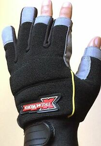 Work Gloves Mechanics 3 Finger DIY Safety Syn Leather Padded Palm Padded Knuckle