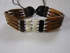 BROWN & WHITE CHOKER BUFFALO BONE JEWELRY NECKLACE PLAIN  REGALIA POW WOW TRIBAL