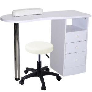 Manicure Table Nail Art Beauty Salon Bar Station Technician Storage Desk Stool