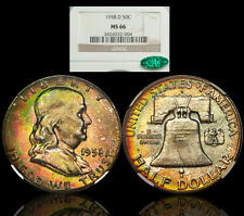 1958-D Silver Franklin Half Dollar NGC MS66 CAC - COLORFUL RAINBOW TONING