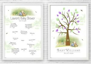 BABY SHOWER WINNIE THE POOH FINGER PRINT TREE & GUESTBOOK POSTER PRINT + INKS