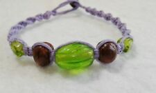 Green & Brown Glass Beads Hemp Bracelet Friendship Handmade Surfer Boho Lavender