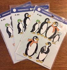 Vintage hand painted decals, Decorcal, 1986 penguins, lot of 3 Nip A-85
