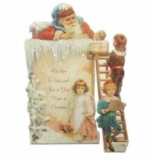 Victorian Turn Of The Century  Christmas Santa On The Roof Card Movable #Pop117
