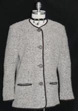 BROWN & WHITE ~ WOOL + MOHAIR Women German Winter Dress Jacket Coat / 40 10 M