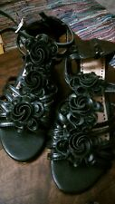 WOMENS LADIES STRAPPY WEDGE HEEL  STRAPS BLACK SANDALS SHOES SIZE 4 (L35)