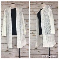 Talbots Women's New White Mercerized Cotton Open Front Cardigan Sweater Size S