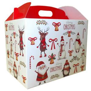 10 x SANTA SNOWMAN REINDEER CHRISTMAS LARGE GABLE GIFT BOXES - XMAS Gift Hamper