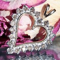 10k yellow gold pendant 1.20ct natural diamond open heart charm vintage 4.2gr